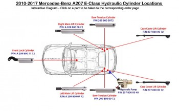 Rebuild/upgrade service for Left Main Lift Cylinder Mercedes W209 CLK-Class 2098000772 A209 800 07 72